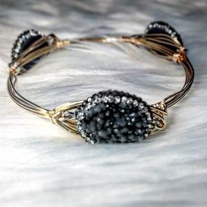 Jewelry - 🆕Real Druzy & Pavé Gold Wire Wrapped Bangle